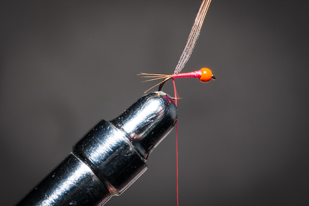 4. Secure the pheasant fibres to form the tail