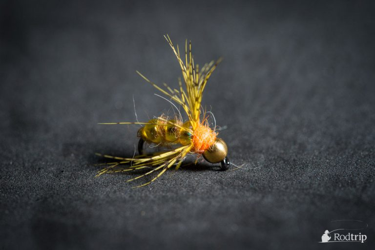 Yellow bead nymph tied by Mathias Briquemont.