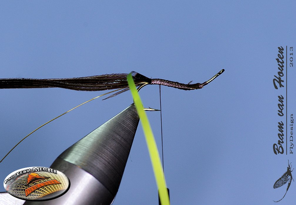 5. Tie the DTF foil and bring the thread at the back of the hook